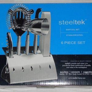6 Piece Steeltek Stainless Steel Bartool Set